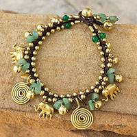 Aventurine charm bracelet, 'Splendor of Siam' - Hand Made Brass and Aventurine Elephant Charm Bracelet