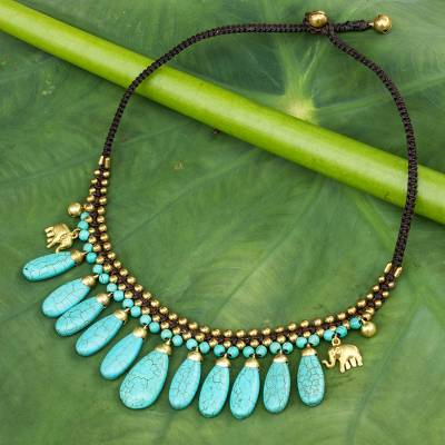 Beaded waterfall necklace, 'Siam Legacy' - Beaded Turquoise Colored Elephant Necklace