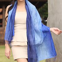 Silk pintuck scarf,