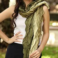 Pleated scarf, 'Evolving Olive' - Handcrafted Scarf from Thailand