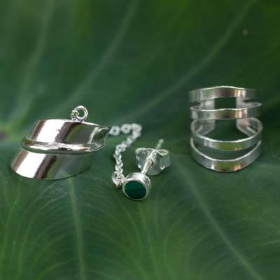 Malachite ear cuff earrings, 'Forest Whisper' (pair) - Modern Sterling Silver Malachite Ear Cuff Earrings (Pair)