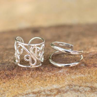 Sterling silver ear cuff earrings, 'Sleek Filigree' (pair) - Sterling silver ear cuff earrings (Pair)