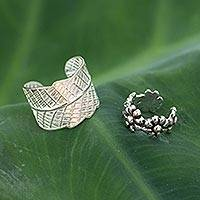 Sterling silver ear cuff earrings, 'Foliage and Flowers' (pair) - Sterling silver ear cuff earrings (Pair)