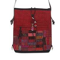 Cotton and hemp blend shoulder bag, 'Crimson Chonburi' - Cotton and hemp blend shoulder bag