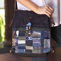 Cotton and hemp blend shoulder bag, 'Navy Chonburi' - Cotton and hemp blend shoulder bag