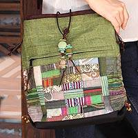 Cotton and hemp blend shoulder bag, 'Green Chonburi' - Cotton and hemp blend shoulder bag