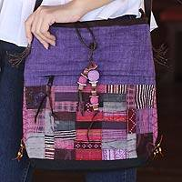 Cotton and hemp blend shoulder bag, 'Purple Chonburi' - Cotton and hemp blend shoulder bag