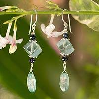 Fluorite and kyanite dangle earrings, 'Tranquility' - Fluorite and kyanite dangle earrings