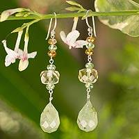 Citrine and prehnite dangle earrings, Beautiful Summer