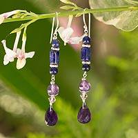 Amethyst and lapis lazuli dangle earrings, 'Morning Glories' - Amethyst and lapis lazuli dangle earrings