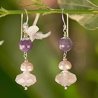 Amethyst and cultured pearl dangle earrings,