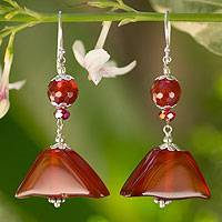 Carnelian dangle earrings, 'Oriental Riches' - Carnelian Dangle Earrings from Thailand