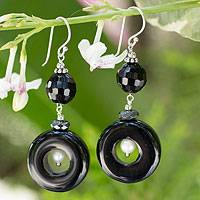 Onyx and hematite dangle earrings, 'Splendid Siam' - Onyx and hematite dangle earrings