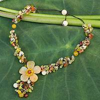 Quartz and carnelian flower necklace, 'Dazzling Bloom' - Fair Trade Floral Beaded Quartz Necklace