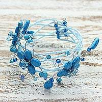 Beaded wrap bracelet, 'Wreath of Blue' - Beaded wrap bracelet