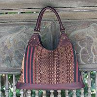 Leather accent cotton hobo bag, 'Exotic River' - Leather accent cotton hobo bag