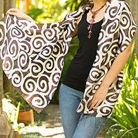 Silk shawl, 'Brown Thai Maze' - Silk shawl