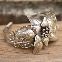 Silver flower bracelet, 'Sumptuous Lanna' - Artisan Crafted Fine Silver Flower Cuff Bracelet