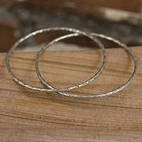 Silver bangle bracelets, 'Fish of Mekong' (pair) - Fair Trade Fine Silver Bangles (Pair)