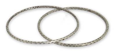 Silver bangle bracelets (Pair)