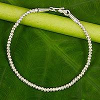 Silver beaded bracelet, 'Moonbeam' - Hill Tribe Fine Silver Beaded Bracelet