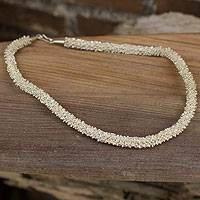 Silver beaded necklace, 'Karen Starlight' - Silver beaded necklace