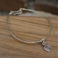 Silver charm bracelet, 'Karen Power' - Tribal Spiral Charm Bracelet