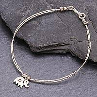 Silver charm bracelet, 'Karen Elephant' - Fair Trade Charm Bracelet by the Karen People