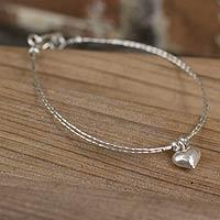 Silver heart bracelet,