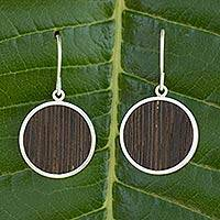 Wood and sterling silver dangle earrings, 'Forest Moon' - Wood and sterling silver dangle earrings