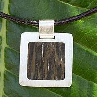Men's sterling silver and wood pendant necklace, 'Forest' - Men's sterling silver and wood pendant necklace