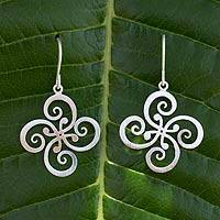 Sterling silver dangle earrings, 'Thai Pinwheel' - Fair Trade Floral Sterling Silver Dangle Earrings