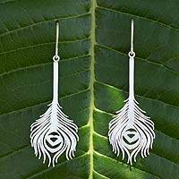 Sterling silver dangle earrings, 'Thai Peacock' - Sterling Silver Dangle Earrings