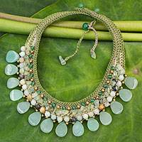Amazonite and prehnite choker, 'Dawn Forest' - Hill Tribe Quartz and Prehnite Choker Necklace