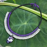 Amethyst and rose quartz beaded necklace, 'Lilac Dewdrop' - Amethyst and rose quartz beaded necklace