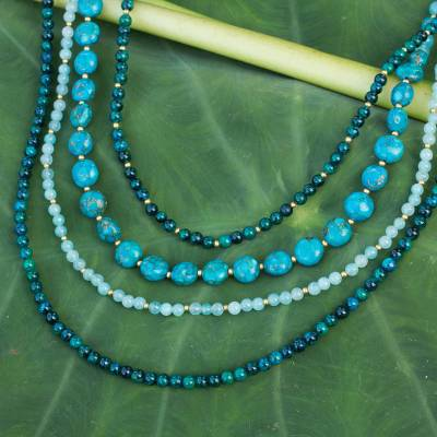 Beaded necklace, 'Forest Lagoon' - Beaded necklace