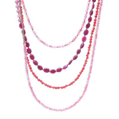 Novica Dyed Quartz Beaded Strand Necklace, Handmade in Thailand
