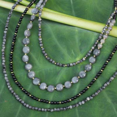 Labradorite and quartz beaded necklace, Midnight Serenade
