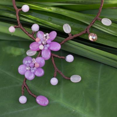 Beaded flower necklace, 'Lilac Pink Spray' - Beaded flower necklace