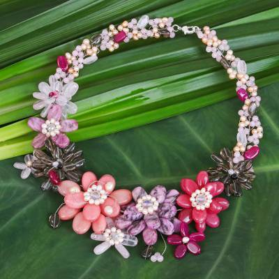 Cultured pearl and rose quartz beaded necklace, 'Pink Camellia' - Cultured Pearl and Rose Quartz Beaded Necklace