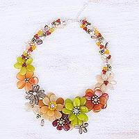 Cultured pearl and carnelian beaded necklace, Joyous Camellia