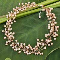 Cultured pearl beaded necklace, 'Sweet Peach'