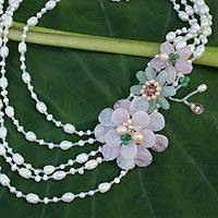 Cultured pearl and rose quartz flower necklace,