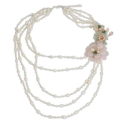 Pearls and Rose Quartz Strand Necklace Floral Jewelry