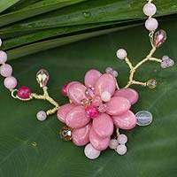 Beaded flower necklace, 'Rose in Bloom' - Beaded flower necklace