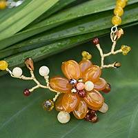 Carnelian flower necklace, 'Dahlia in Bloom' - Carnelian flower necklace