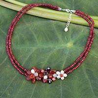 Cultured pearl and garnet flower necklace, 'Red Floral Princess' - Cultured pearl and garnet flower necklace