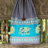 Cotton shoulder bag, 'Sankamphaeng Elephants in Grey' - Cotton shoulder bag