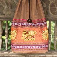 Cotton shoulder bag, 'Sankamphaeng Elephants in Brown' - Thai Cotton Shoulder Bag