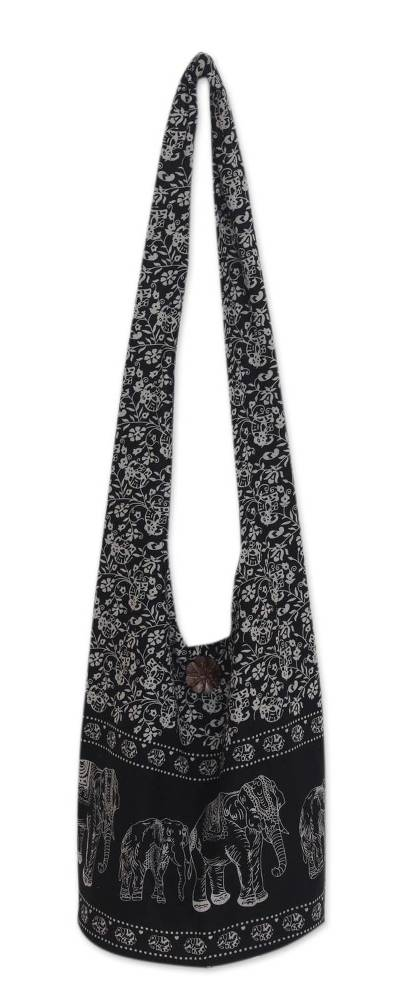 Cotton shoulder bag, 'Black and White Siam' - Handmade Cotton Elephant Shoulder Bag